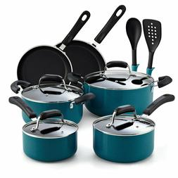 Cook N Home 02588 12-Piece Stay Cool Handle, Turquoise Nonst