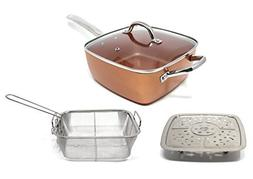 CONCORD 5 IN 1 SQUARE Cookware Set with Steamer Tray and Dee