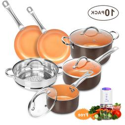 10 Pcs Cookware Copper Pan Set Induction Nonstick Chef Skill