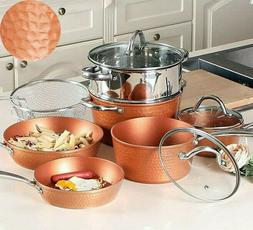 10 Pcs Hammered Copper Induction Nonstick Cookware Set Steam