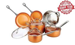 10 Piece Copper Luxury Cookware Pan Set 02628 Non Stick Indu