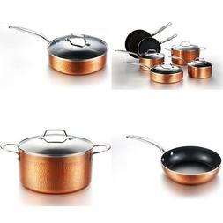 COOKSMARK 10 Piece Hammered Copper Cookware Set with Nonstic