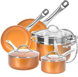 10 Piece Kitchen Cookware Set Nonstick Copper Pots Pans Stea