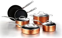 10pc Hammered Copper Cookware Set with Nonstick Coating Indu