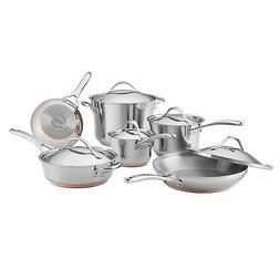 Anolon 11-Piece Nouvelle Copper Stainless Steel Cookware Set
