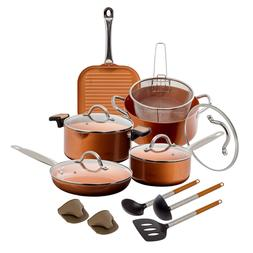 15 Pc Copper Ceramic Nonstick Induction Cookware Set Fry Sau