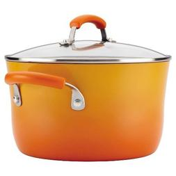 Rachael Ray 16084 Hard Enamel Covered Stockpot 6 Quart Orang