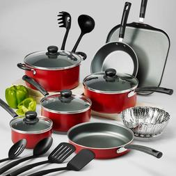 18-PIECE COOKWARE SET Pots Pans Non Stick Cooking Aluminum P
