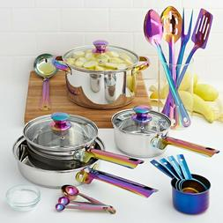 20-Piece Iridescent Stainless Steel Cookware Set with Kitche