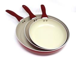 CONCORD 3 PC Ceramic Non Stick Fry Pan Set Frying Skillet In
