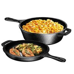 3 QT Cast Iron Dutch Oven Deep Fryer Skillet Pre-seasoned Po