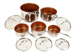 NuWave 31250 10 Piece cookware Set, 10Piece, Silver