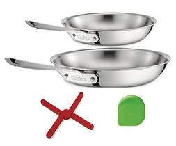 "All-Clad 4108 and 4110 Stainless Steel 8"", 10"" Fry Pan, Triv"