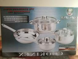 CONCORD 7 PCS Stainless Steel Cookware Set. Pots Pans Dutch
