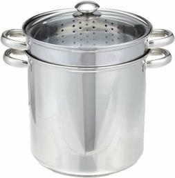 Excelsteel 12 Quart 18/10 Stainless Steel 4 Piece Muti-Cookw
