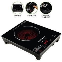 Ovente Infrared Countertop Burner, Cool-Touch Ceramic Glass