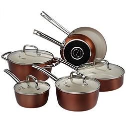 Pots and Pans Set, Cooksmark Ceramic Cookware Set Copper Fin