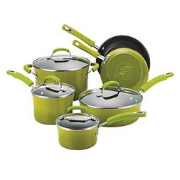 Rachael Ray Classic Brights Hard Enamel Nonstick 10-Piece Co