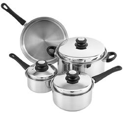 Tuxton Home Reno 7 Piece Cookware Set; Stainless Steel, PFTE