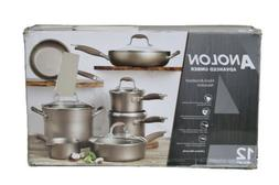 ANOLON ADVANCED UMBER 12PC HARD-ANODIZED NONSTICK COOKWARE 8