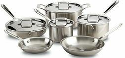 All-Clad Brushed D5 Stainless Cookware Set, Pots and Pans, 5