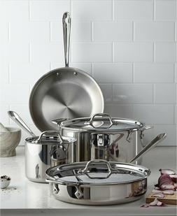 All Clad D3 18/10 Stainless Steel 7 Pc Piece Tri-Ply Cookwar