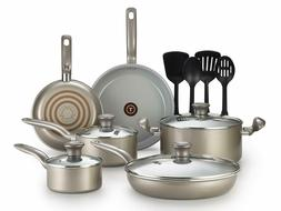T-fal 2100088763 14 Piece Ceramic Dishwasher Safe Nonstick P