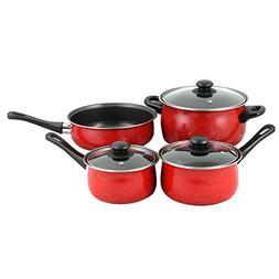 GIBSON HOME Casselman 7-Piece Black and Red Cookware Set wit