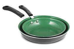2 Piece Ceramic Non Stick Frying Pan Set 8 inch 10 inch Gree