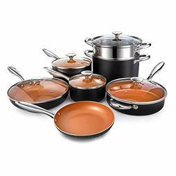 MICHELANGELO Copper Cookware Set 12 Piece with Nonstick Cera