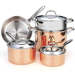 Cookware Set Copper 8 Piece Multi-Ply Clad Copper Pots Pans
