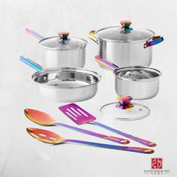 Cookware Set Stainless Steel 10 PIECE Pots Pans Utensils Iri
