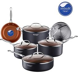 Cooksmark 10-Piece Copper Ceramic Induction Compatible Nonst
