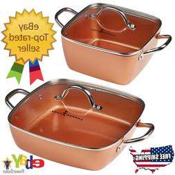 "Copper Chef 4-Piece 8"" & 12"" Nonstick Deep Casserole Pans Se"
