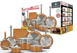 Eternal Copper Cookware Pots and Pan Set 13 Pieces with Non