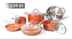 Shineuri Copper 10 Piece Non Stick Cookware Set - Pots, Pans