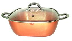 Copper XL Pan 12 Inch 6 Qt. Deep Square Pan With Tempered Gl