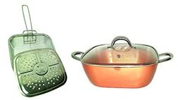Copper XL Pan 12 Inch 6 Qt. Deep Square Pan 5-Piece Set With