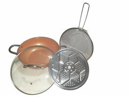 "Copper Pan Non-stick 12"" Wok Chef Grade 4 Pcs Set Induction"