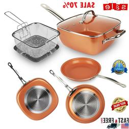 Copper Round / Square Frying Pan Induction Chef Glass Lid Fr