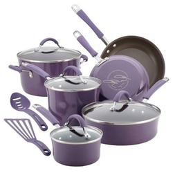 Rachael Ray Cucina 12 Piece Non- Stick Cookware Set, Lavende