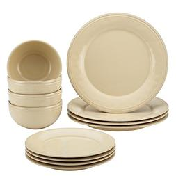 Rachael Ray Cucina 12 Piece Dinnerware Set, Stoneware Almond