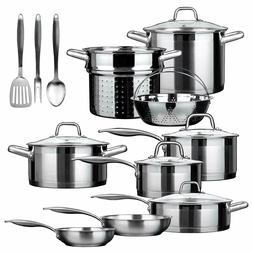 DUXTOP 17 Piece Stainless Steel Induction Cookware Set NEW I