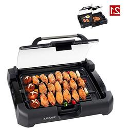 Secura 1700W Electric Reversible Grill Griddle with Glass Li