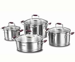 Korkmaz Flora 8 Piece High-End Stainless Steel Induction-Rea