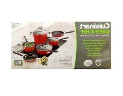 Cuisinart GreenChef Cookware Set 10Pc Red Non Stick Inductio