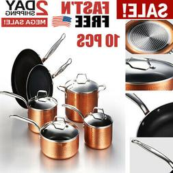 Hammered Copper Cookware Set with Nonstick Coating Induction