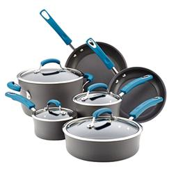 Rachael Ray Hard-Anodized 10 Piece Cookware Set, Marine Blue