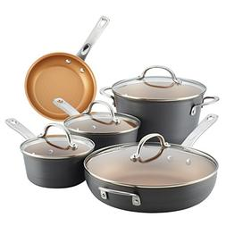 Ayesha Home Collection Hard Anodized Aluminum Cookware Set,