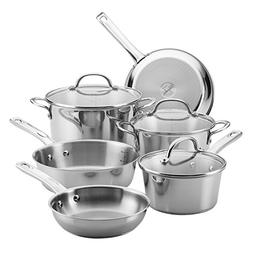 Ayesha Home Collection Stainless Steel Cookware Set, 9-Piece